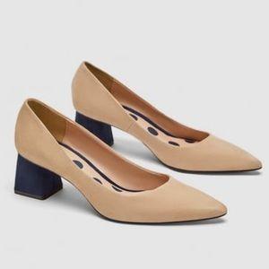 NWT Zara mid heel nude suede court shoe navy block